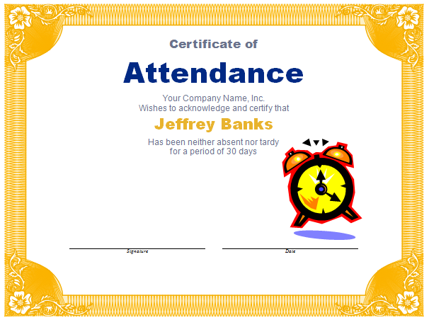 Free award templates new calendar template site for Printable perfect attendance certificate template