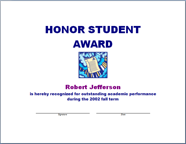 Honor Student Award Template Blue Layouts