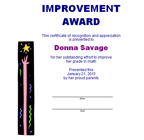 Improvement Award Template