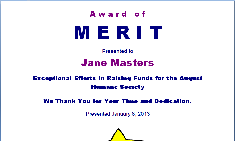 Merit Award Template