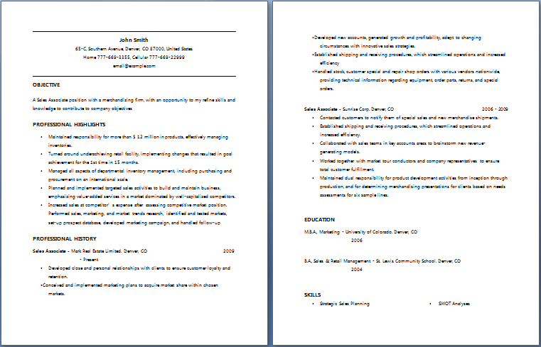 Sales Associate Resume Blue Layouts