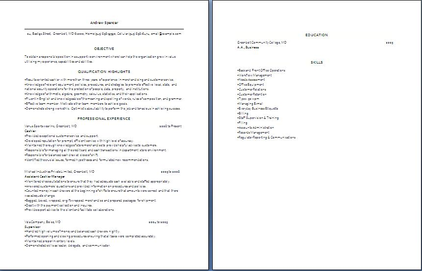 Cashier Resume Blue Layouts