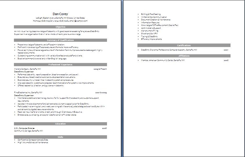 sample data entry resume 3147 resume for data entry job