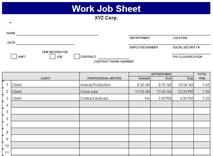 Superior Job Sheet Format Excel In Job Sheet Template Free Download