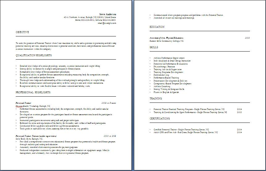 Personal Trainer Resume Blue Layouts Horse