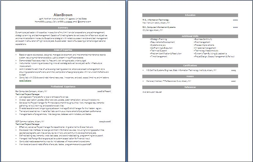 Sample resume project manager skills