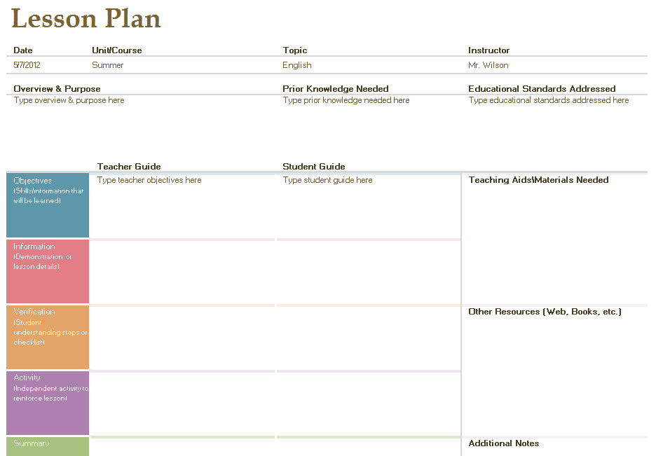Layout Of A Lesson Plan | New Calendar Template Site