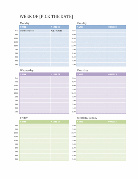 Weekly Calendar Template Word - Daily planner template word