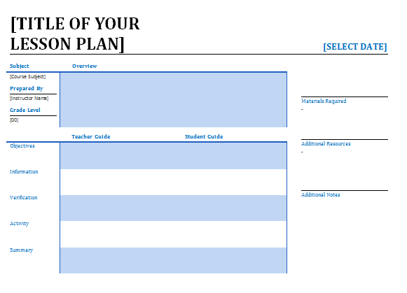 free lesson plan template – Lesson Plan Template for Word