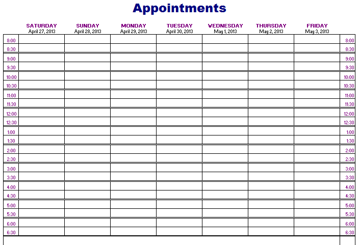 Appointments Schedule Template Free Layout amp Format