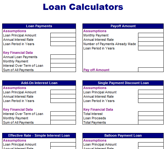 common loan calculator blue layouts