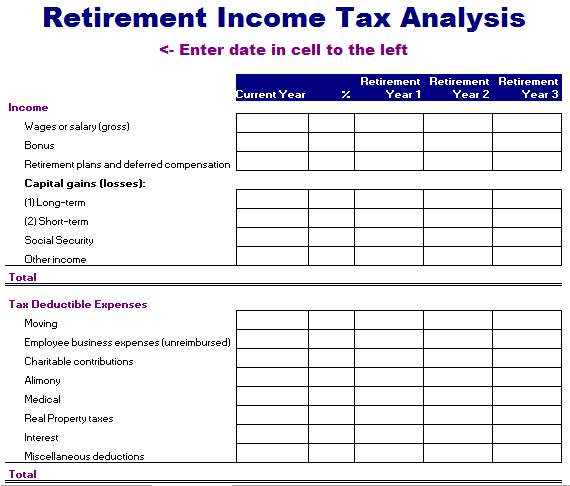 Retirement Income Tax Analysis Template
