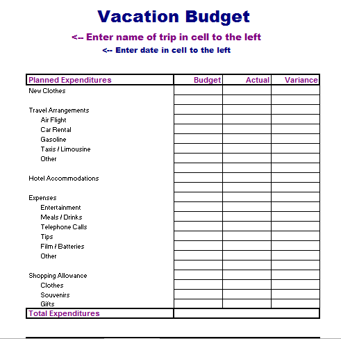 Vacation Budget Template Blue Layouts