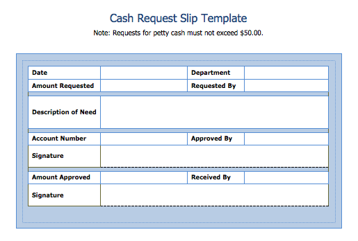cash request slip template blue layouts