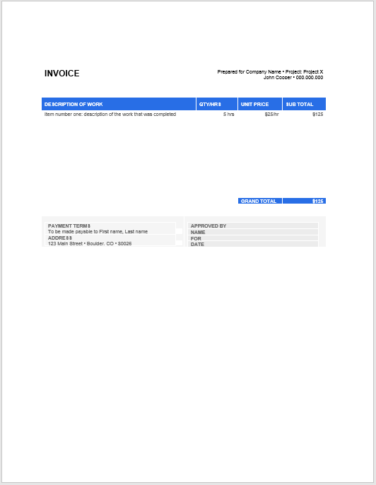 Product Invoice Template 02