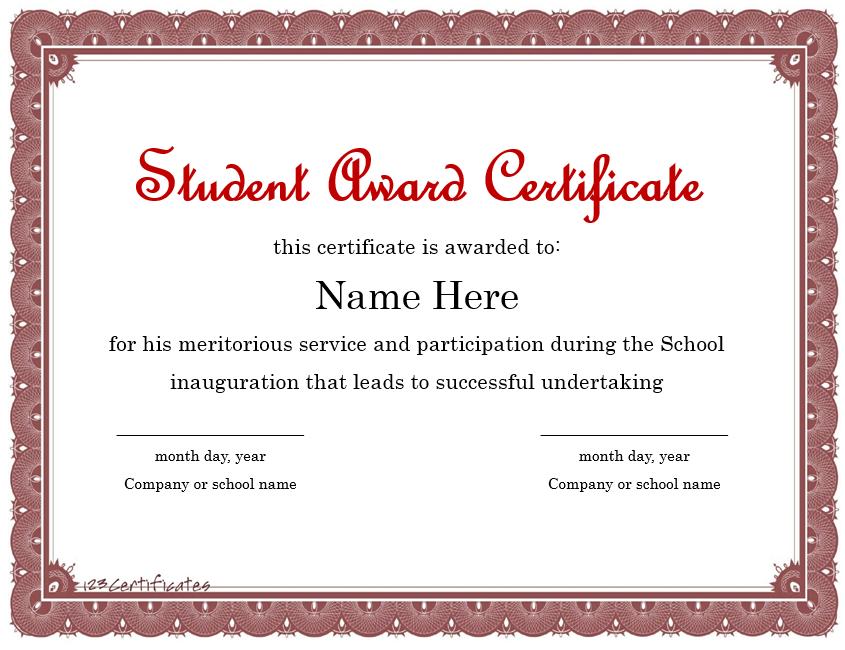 Student Award Template 12