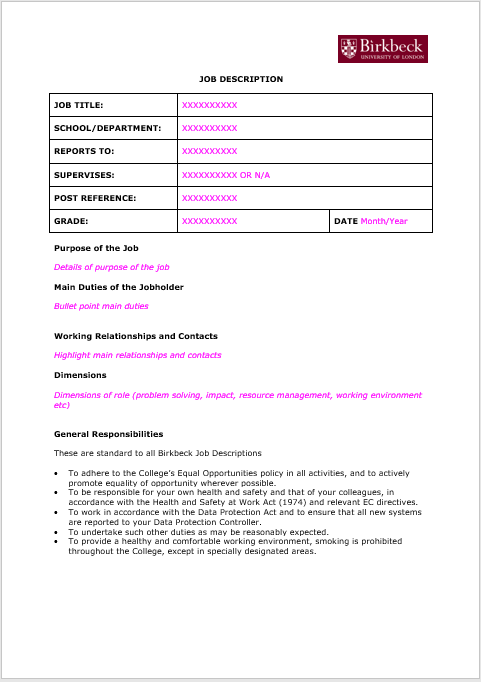 Job Description Template 11