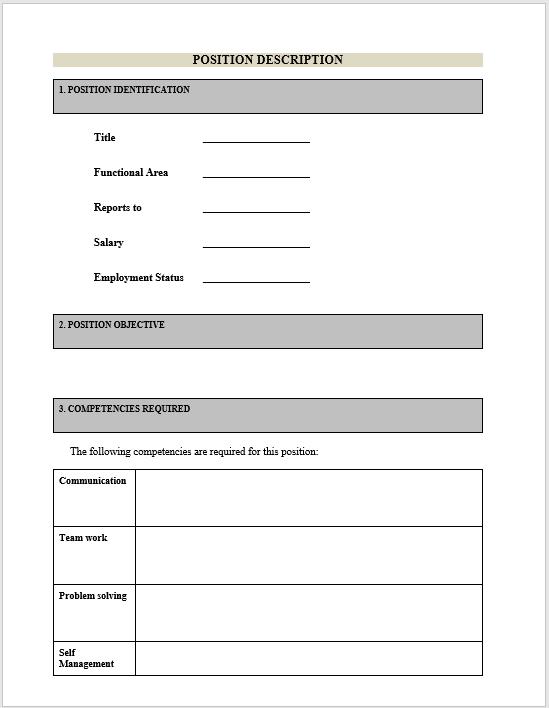 Job Description Template 18