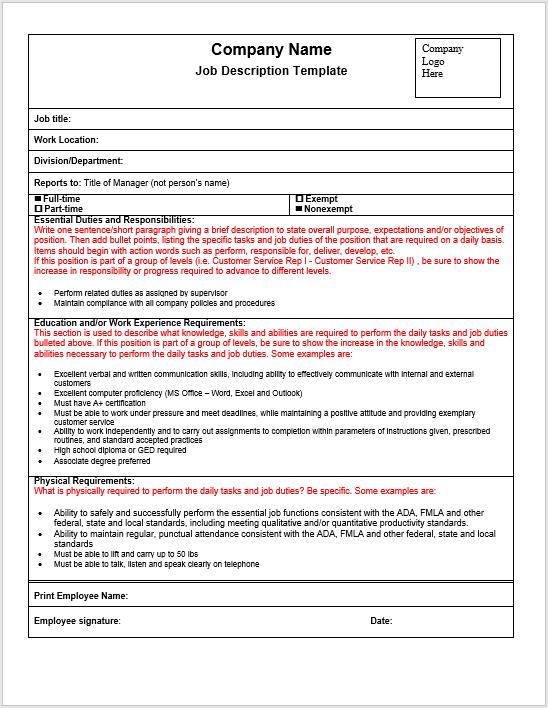 Job Description Template 19