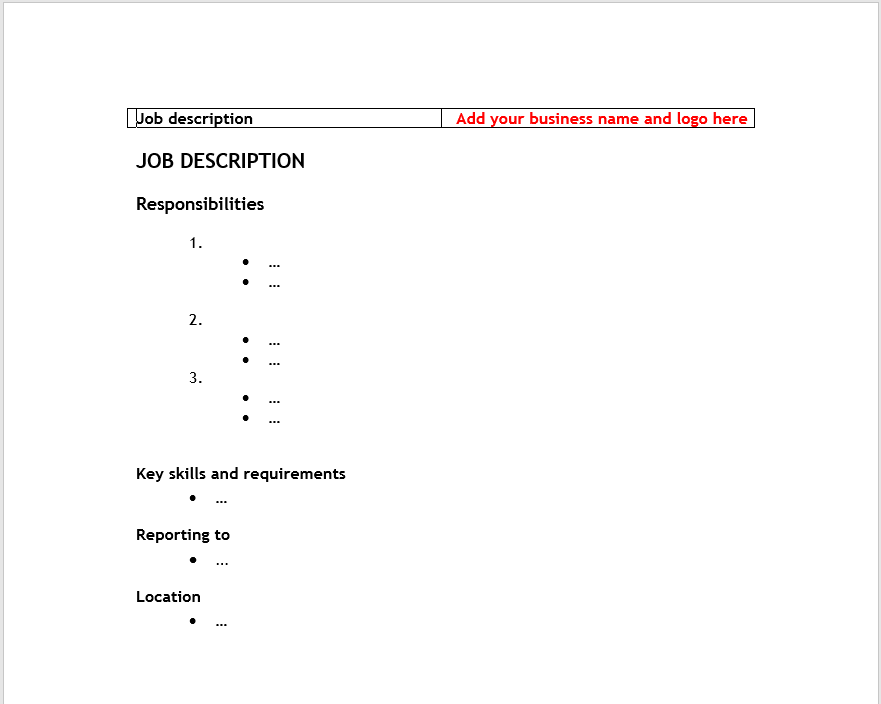 Job Description Template 21