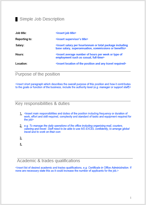 Job Description Template 23