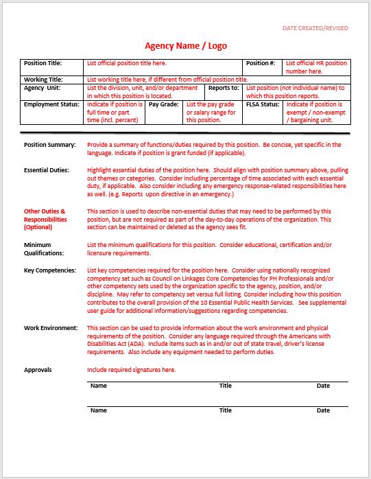 Job Description Template 25