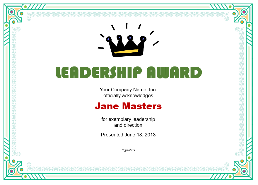 Leadership Certificate Template 02
