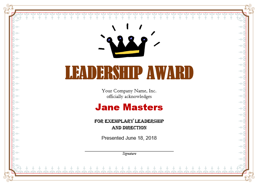Leadership Certificate Template 03