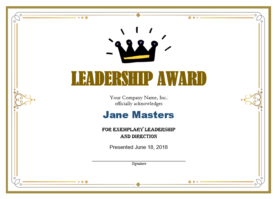 Leadership Certificate Template 04