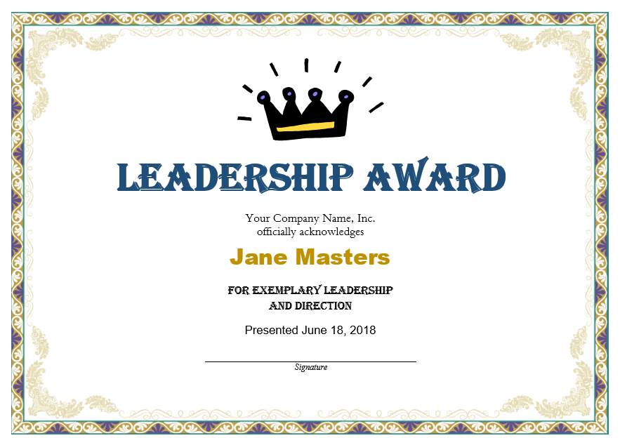 11+ Free Leadership Certificate Templates - Blue Layouts