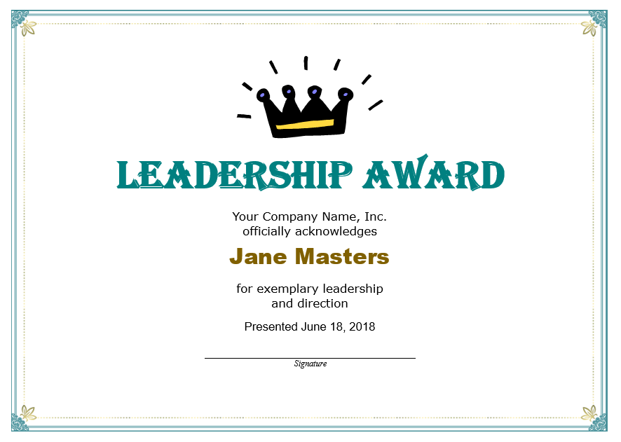 Leadership Certificate Template 06