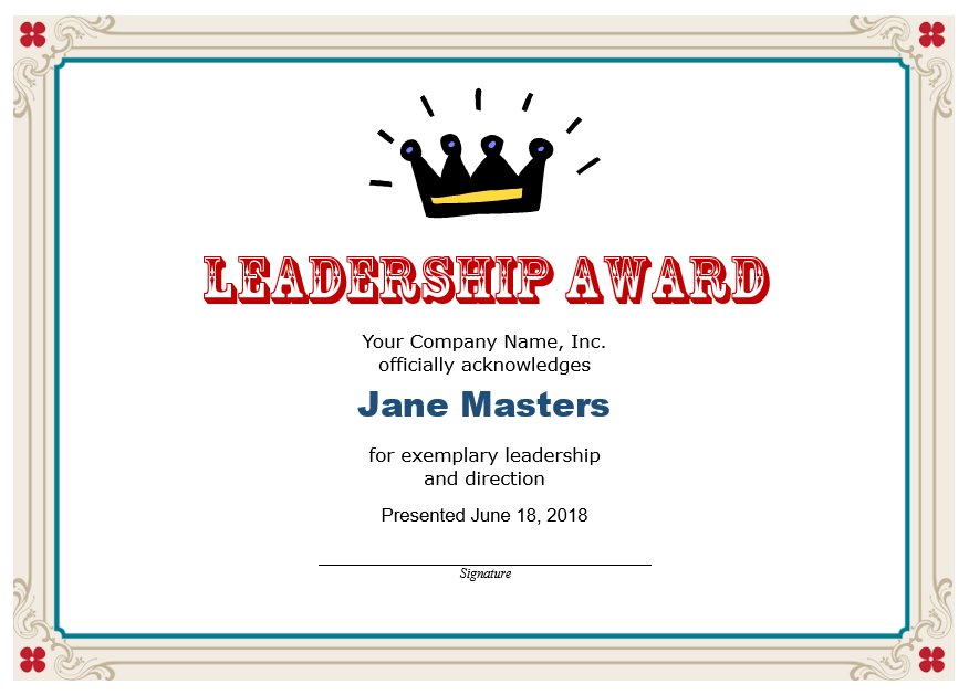 Leadership Certificate Template 10