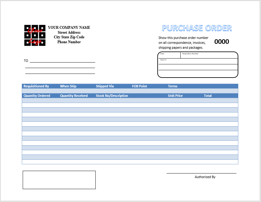 Purchase Order Template MS Word 02