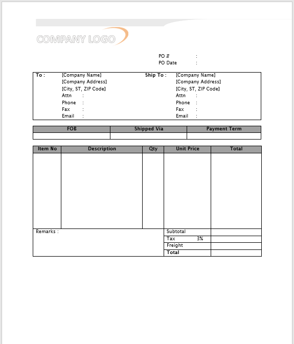 Purchase Order Template MS Word 03