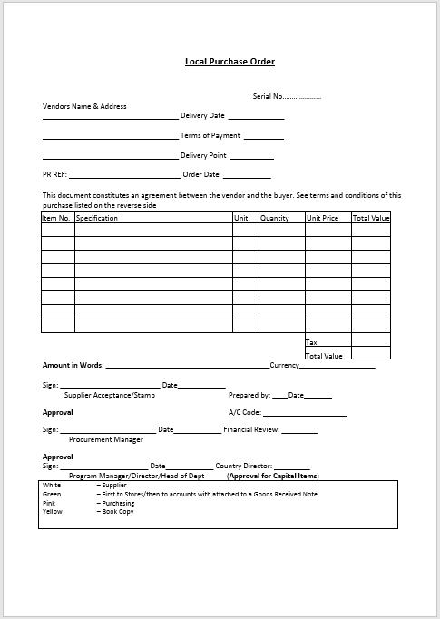 Purchase Order Template MS Word 08