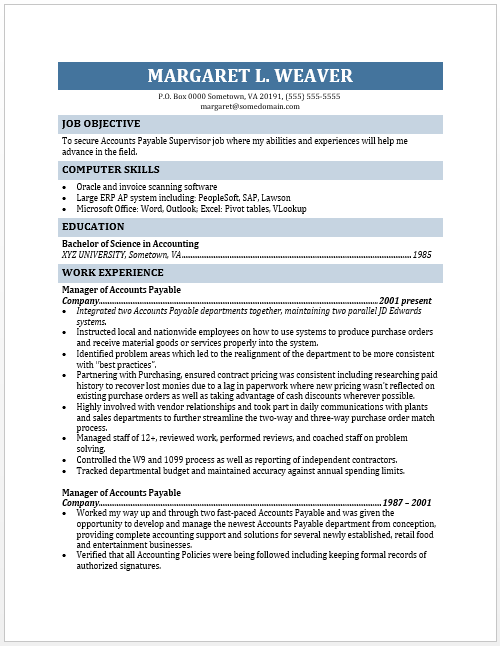 resume objective for accounting supervisor accounts payable supervisor resume created our staff using word format accounting