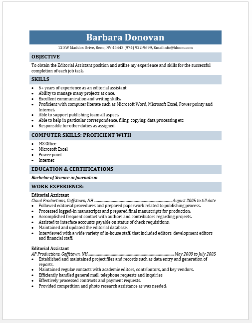 editorial assistant resume free layout format