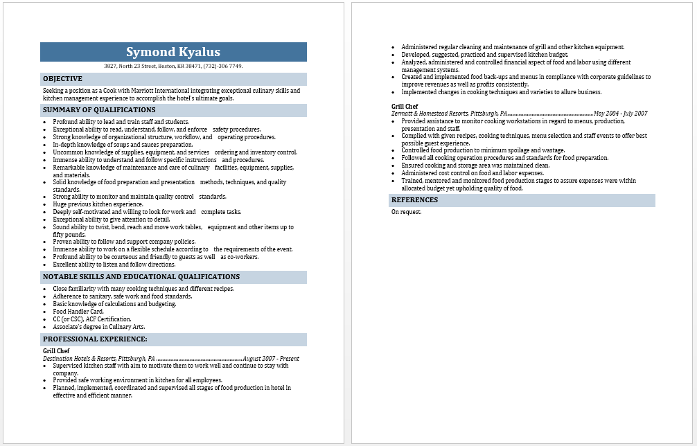 resume for prep cook resume examples resume examples for cooks - Prep Cook Resume