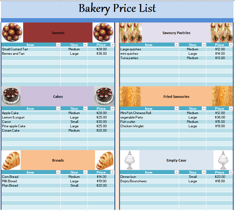 Bakery Price List Template Blue Layouts