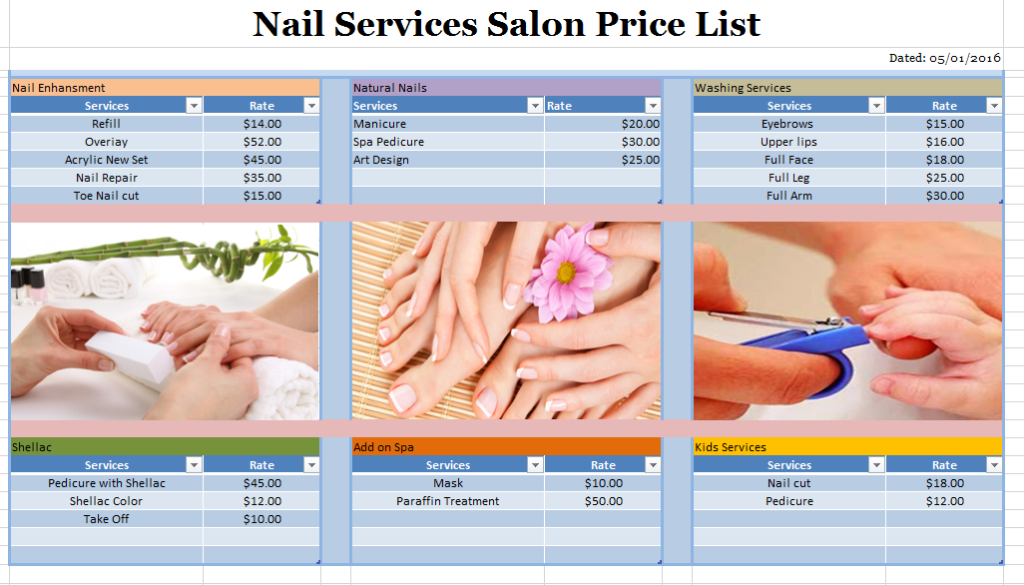 Nail services salon price list template free layout format for A list nail salon