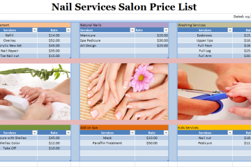 Nail Services Salon Price List Template
