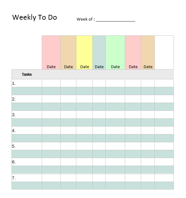 Weekly To Do List Template 07