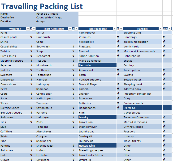 Packing List Template 02