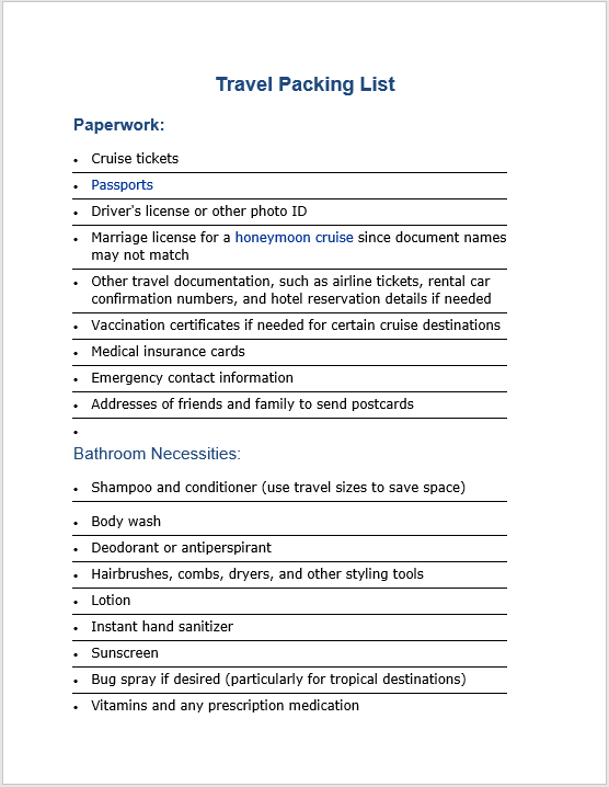 Packing List Template 12