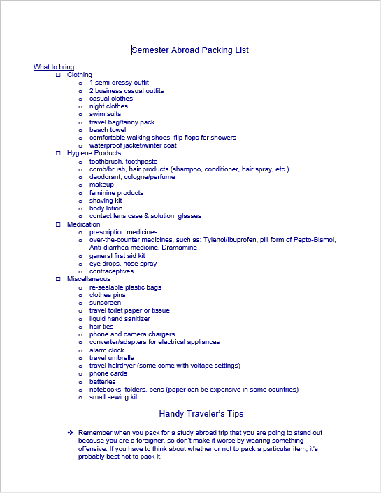 Packing List Template 13