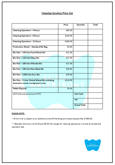 price list template 05