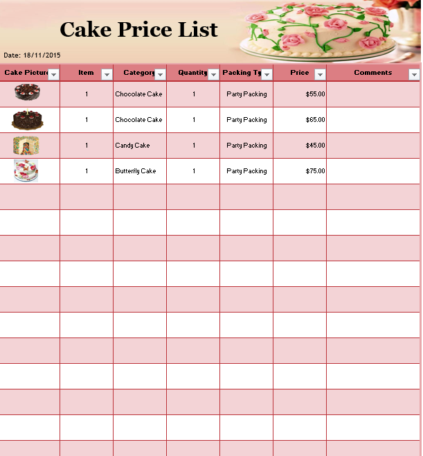price list template 07