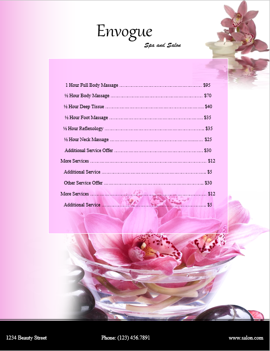 price list template 08