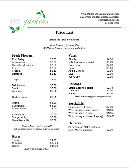 price list template 11