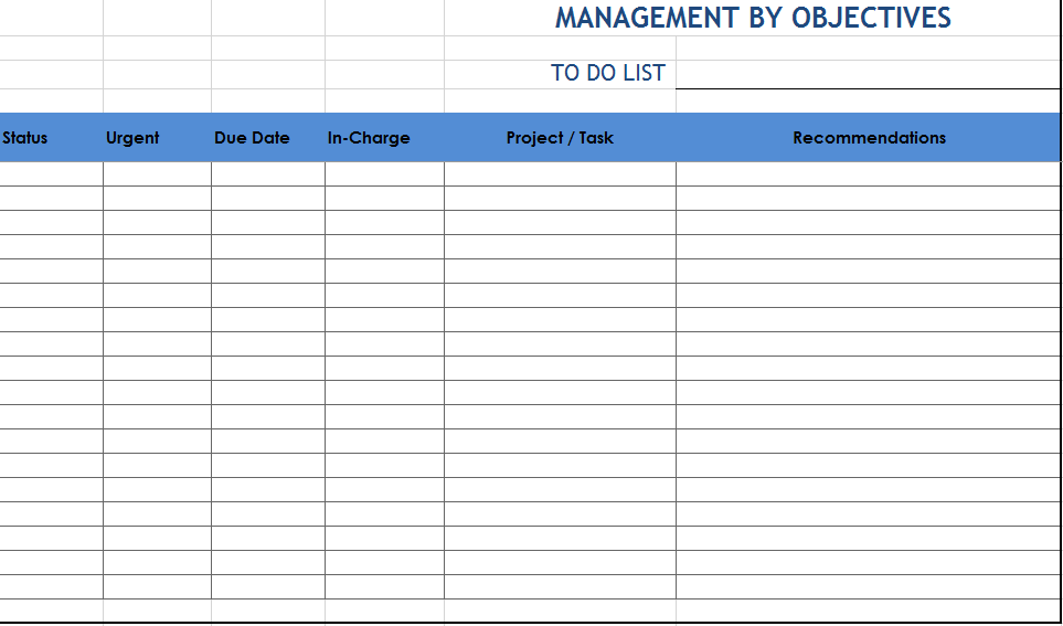 Project To Do Task List 10
